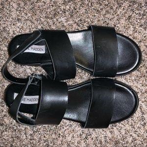 Steve Madden black platform sandals Velcro